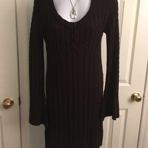 Dresses & Skirts - Brown scoop neck sweater dress